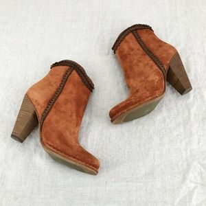 FRYE Rust Suede Madeline Trim Short Ankle Bootie